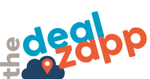 The DealZapp Logo. Blue and orange bold font with a cloud widget and location widget. Light grey backround