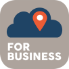 """The DealZapp for business app Icon. This image is also displayed at Google Play Store as the app icon for DealZapp for business. Orange location widget, navy blue cloud widget, grey backround, white bold text, """"For Business""""."""