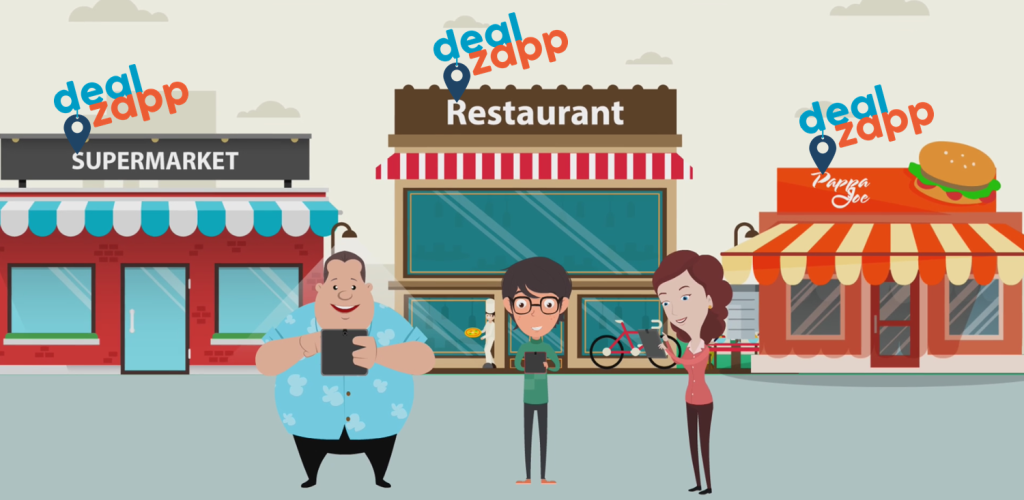 Colourful cartoon image of customers looking for deals using the DealZapp app. The backround are shops and restaurants that would be advertising deals and specials